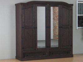 New Mexico 4-deurs kledingkast bruin met spiegel