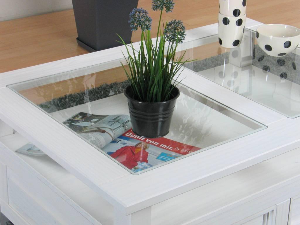 Witte Salon Tafel Met Glas.New Mexico Salontafel Wit Grenen Met Glas