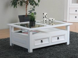 New Mexico salontafel wit grenen met glas