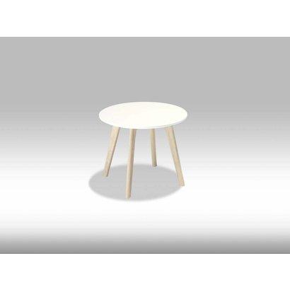 Livie salontafel rond 48 cm wit/eiken