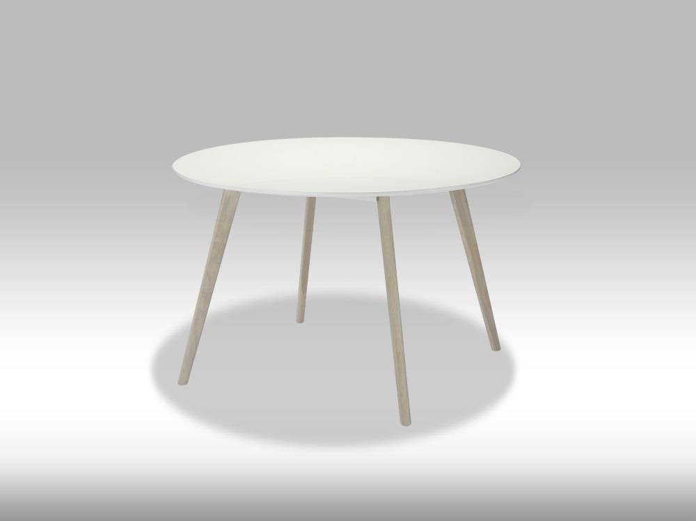 Witte Ronde Hoogglans Eettafel.Livie Ronde Eettafel 120 Cm Wit Eiken