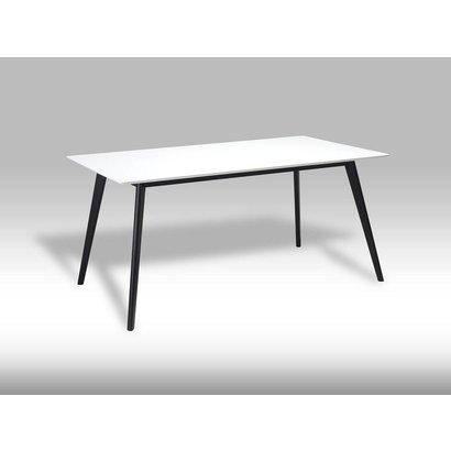 Glazen Eettafel 160 X 90.Livie Eetkamertafel 160x90 Cm Wit Met Zwarte Poten