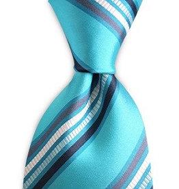Premium Promotions Turquoise-grijs-marine-wit gestreept zijde