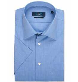 LCF Overhemd 60-40 middenblauw korte mouw
