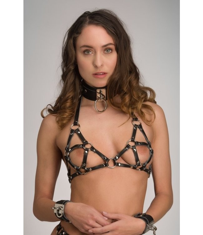 Voyeur X Leather open cup harness – Eternity