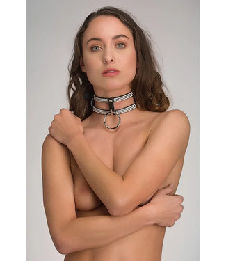 Voyeur X Leather collar 2 layers – Diamonds