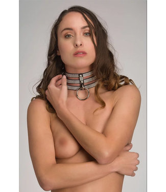 Voyeur X Leather collar 3 layers – Diamonds