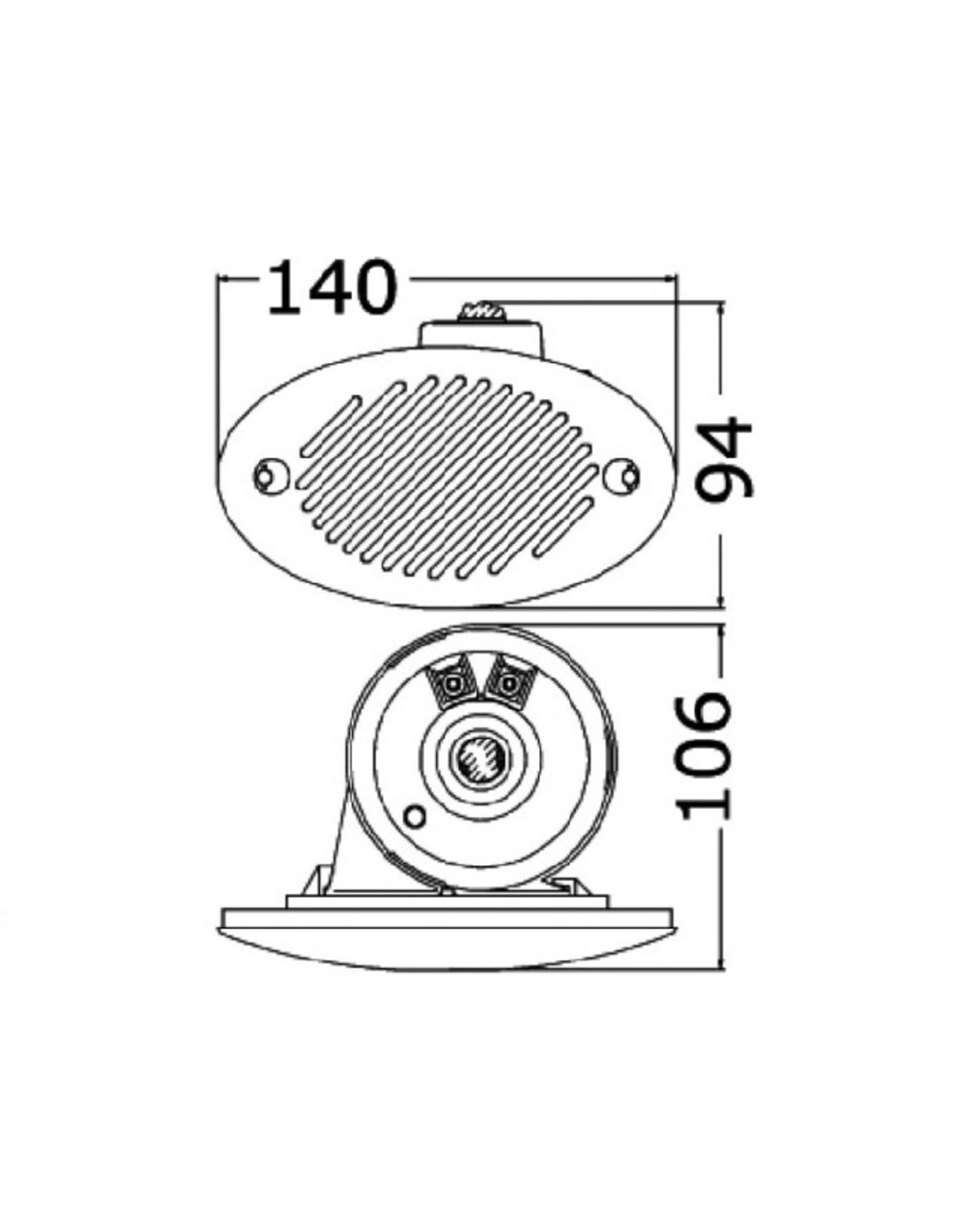 Osculati Fiamm inbouw horn 140 x 80mm.