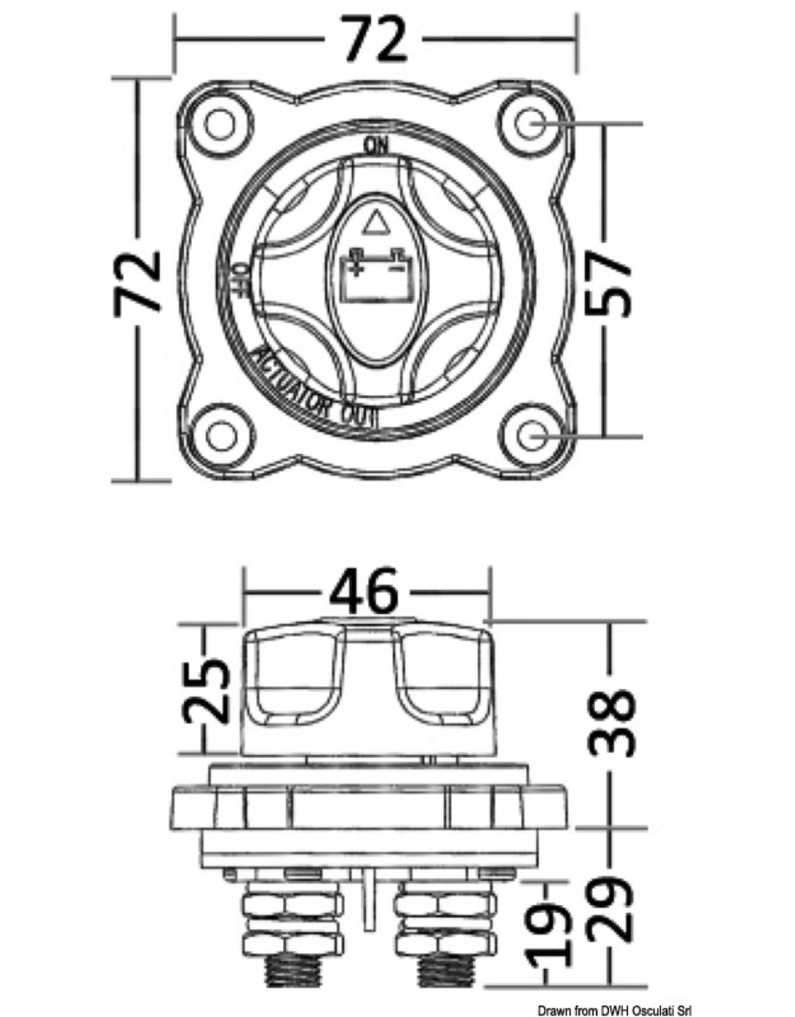 Osculati Accu schakelaar 300A  semi-verzonken montage