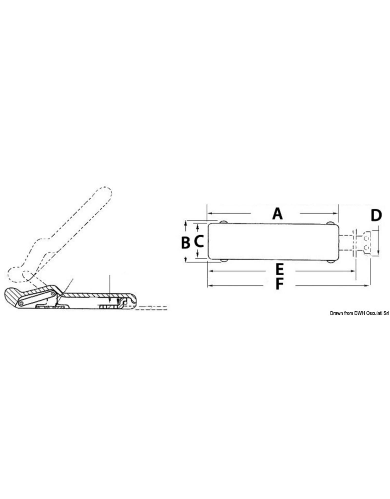Osculati Trillingdempende rubberen klepgrendel 96x29 mm zwart
