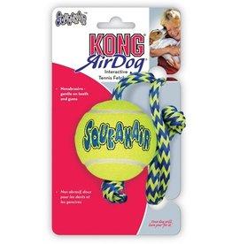 Kong Kong air squeaker ball met touw geel/blauw