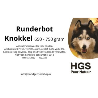 HGS Puur Natuur HGS Puur Natuur 100% Natuurlijk Runderbot Knokkel +/- 750 gram