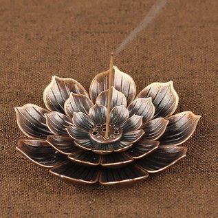 Bronzen Lotusbloem wierook brander voor verschillende maten stokjes