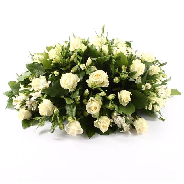 Rouwbiedermeier witte Rozen witte Alstroemeria