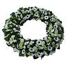 Ajourkrans witte en groene bloemen Groot (50 cm)