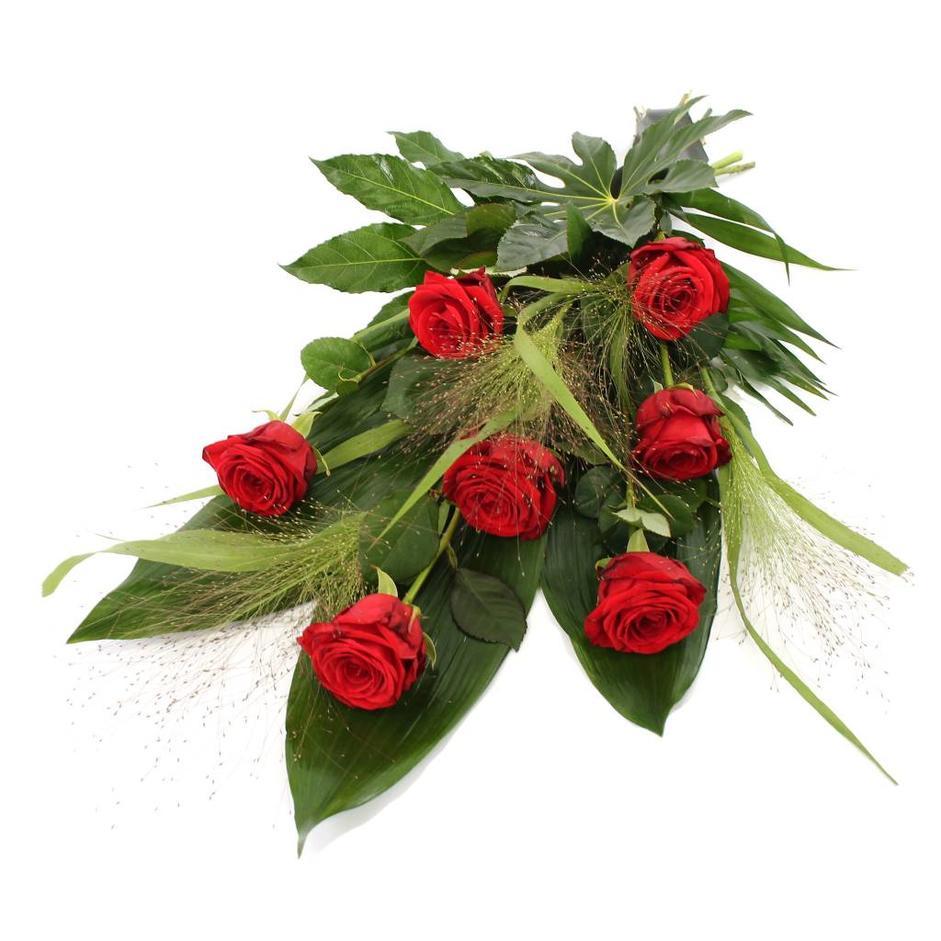 Rouwboeket rode Rozen met blad