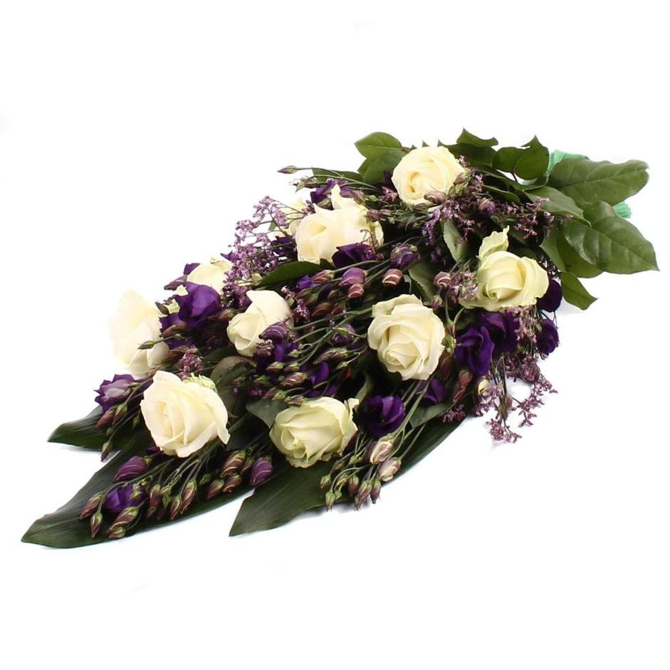 Rouwboeket witte Rozen paarse Lisianthus