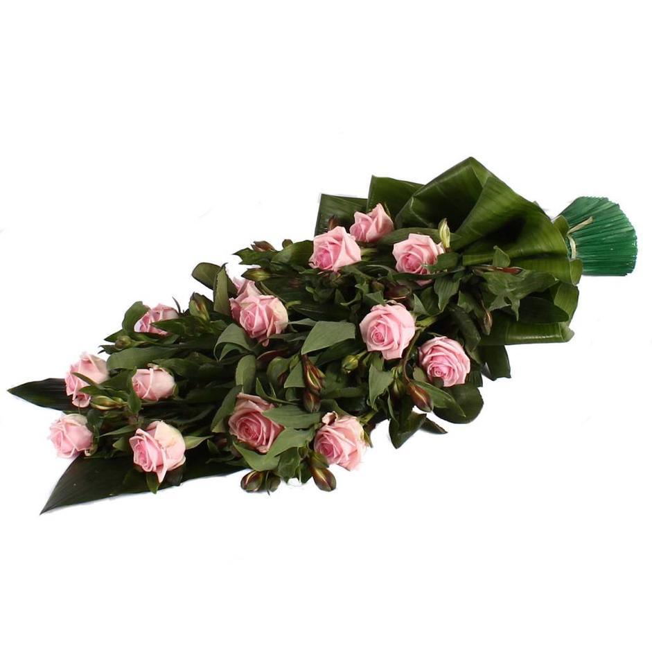 Rouwboeket roze Roos met rode Alstroemeria