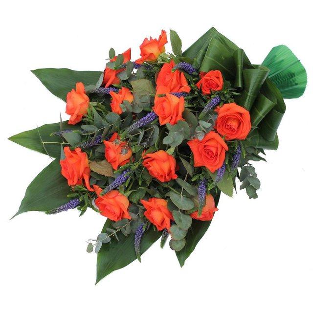 Rouwboeket oranje Rozen met Veronica