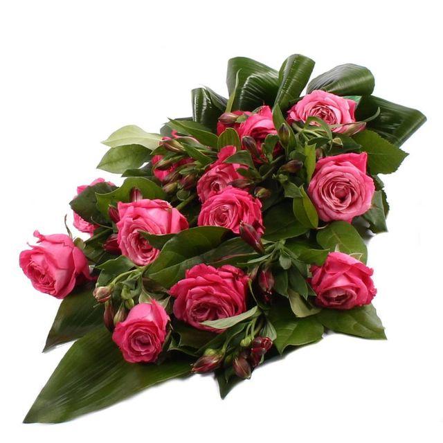 Rouwboeket roze Rozen met blad