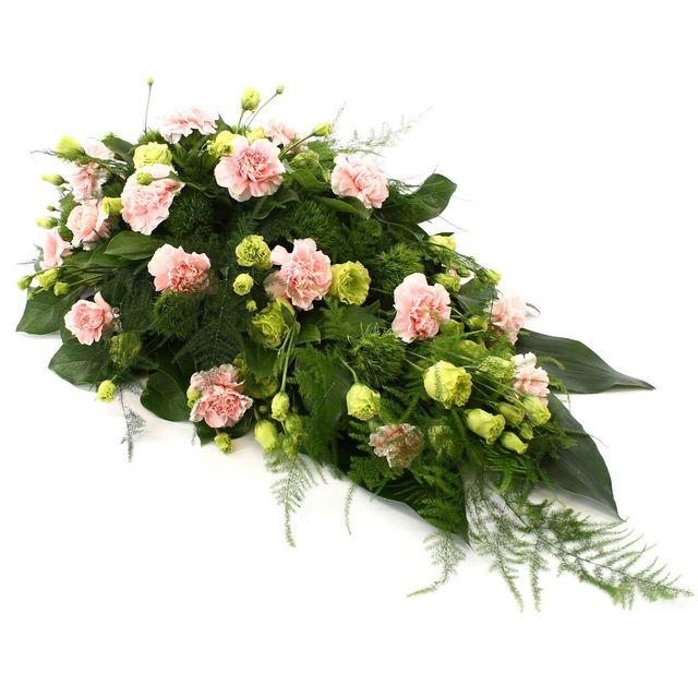 Rouwdruppel roze Anjers met groene Lisianthus