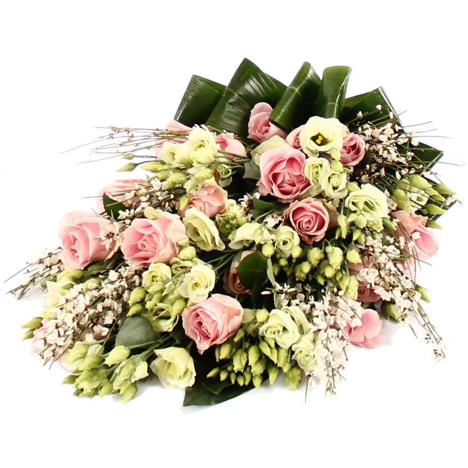 Rouwboeket roze wit groen