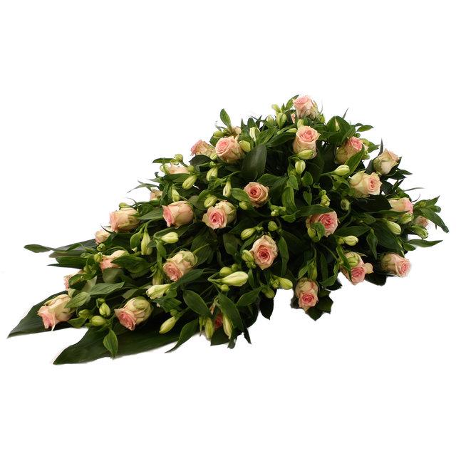 Rouwdruppel roze Rozen met witte Alstroemeria