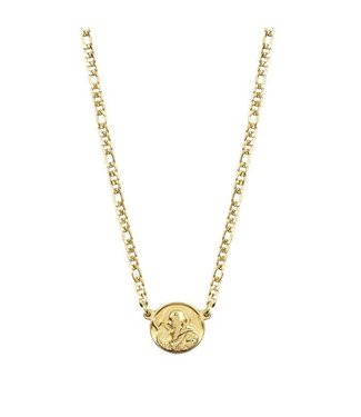FLAT CHAIN COIN NECKLACE - GOLD