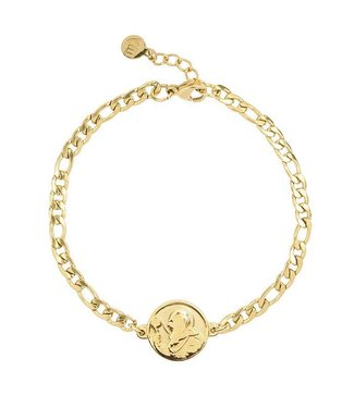 FLAT CHAIN COIN BRACELET - GOLD