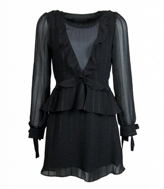 RUFFLY BLACK DRESS