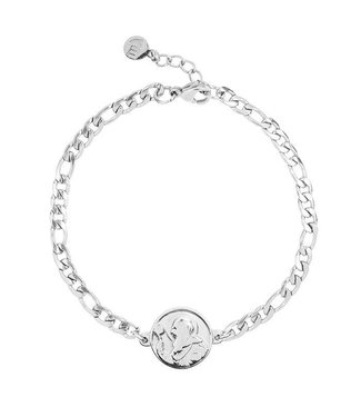 FLAT CHAIN COIN BRACELET - SILVER