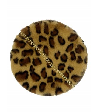 ROUND FURRY LEOPARD BAG - BROWN