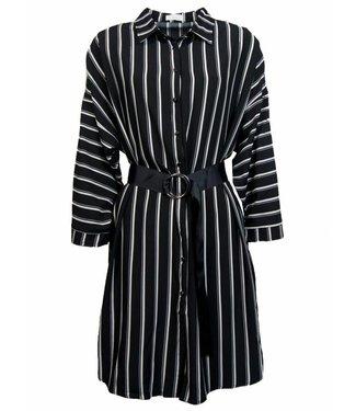 STRIPY SHIRT DRESS - BLACK