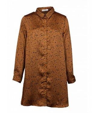 DOTTED CAMEL SHIRT DRESS