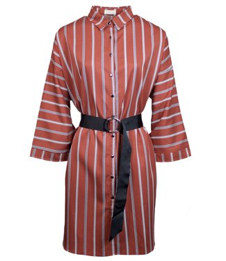 STRIPY SHIRT DRESS - RUSTY