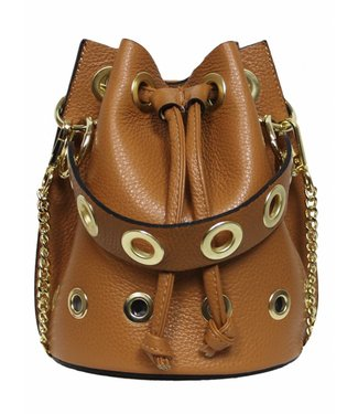LEATHER BUCKLE BAG - CAMEL