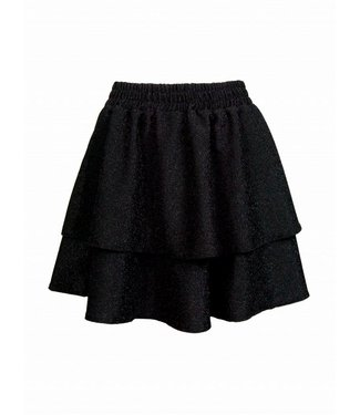 SPARKLY RUFFLE SKIRT - BLACK