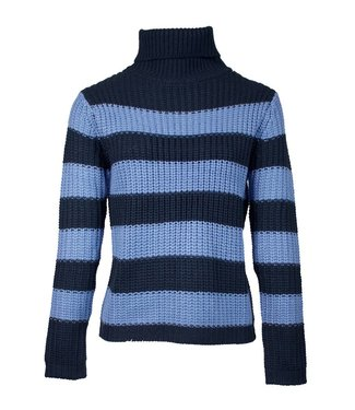 STRIPED TURTLENECK KNIT - BLUE COMBO