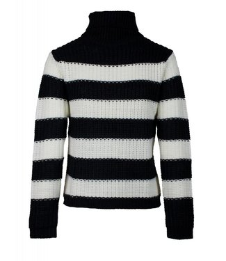 STRIPED TURTLENECK KNIT - BLACK/WHITE