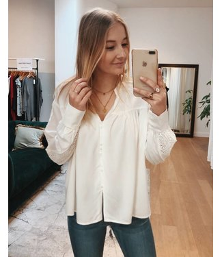 LACE SLEEVE BLOUSE - WHITE