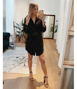 KNOTTED SHIRT DRESS - BLACK