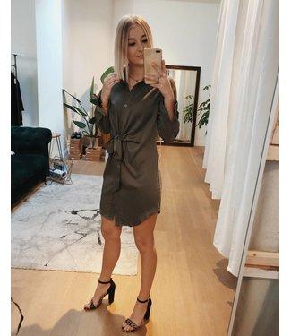 KNOTTED SHIRT DRESS - KAKI