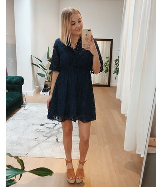 CUTEST LACE DRESS - DARK BLUE