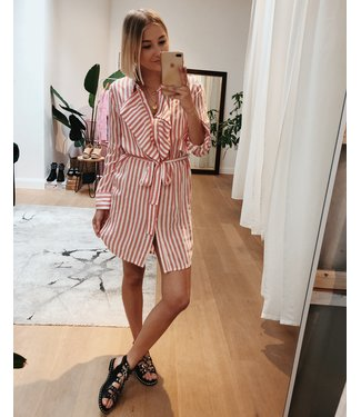 STRIPED SHIRT DRESS - RED
