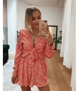 DOTTY PLAYSUIT - RED