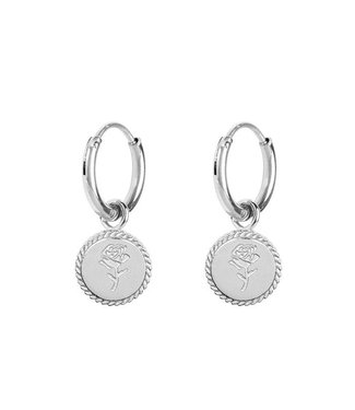 EARRINGS ROSE ROUND - SILVER