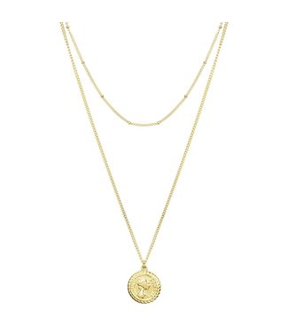 DOUBLE CAMEE NECKLACE - GOLD