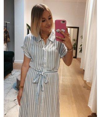 KILKY SHORT SLEEVE STRIPED SHIRT DRESS - BLUE