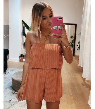KILKY PLEATED PLAYSUIT - CORAL