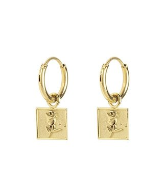 EARRINGS ROSE SQUARE - GOLD